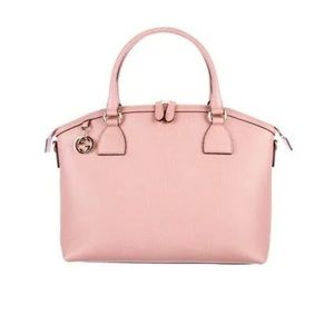 Authentic Gucci Pink GG Charm Large Dome Handbag